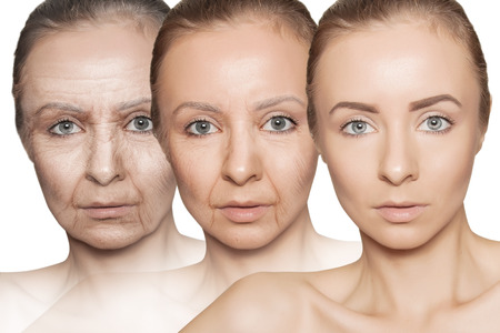 three ages of woman with skin getting old Standard-Bild