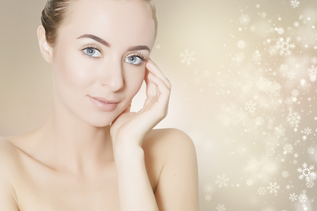 health beauty: skin revitalizing concept illustration with snowflakes on background
