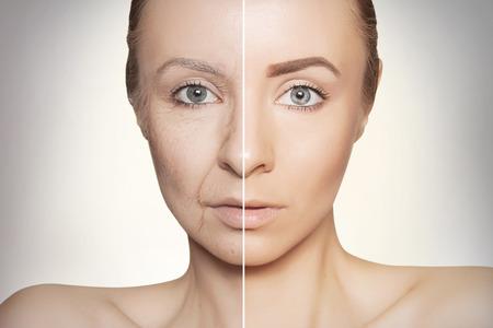 tow halves of caucasian woman face