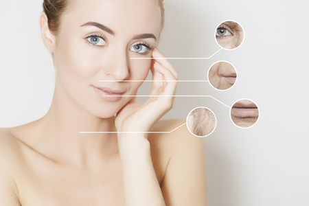 regeneration: skin revitalizing concept, woman applies product to her cheek