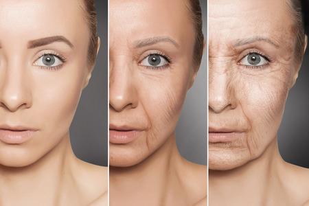 Concetto di bellezza l'invecchiamento della pelle, procedure anti-invecchiamento sul viso di donna caucasica