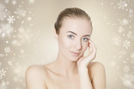 regeneration: skin revitalizing concept illustration with snowflakes on background