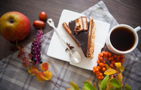 late autumn: piece wof sweet brownie with chocolate Stock Photo