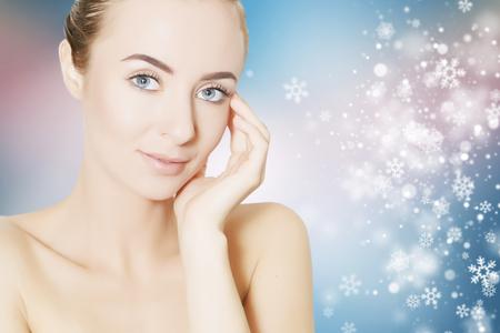revitalizing: skin revitalizing concept illustration with snowflakes on background
