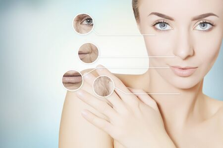 regeneration: beauty renovating skin portrait of woman with graphic circles for product