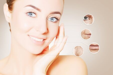 portrait of woman face with graphic circles of ols skin for advertising