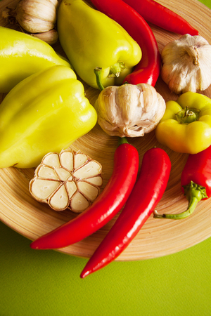 vegetables for flavouring: peppers and garlic