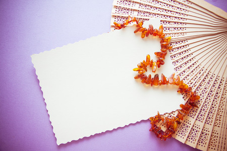 photo with white postcard amond retro amber beads, fans, etc