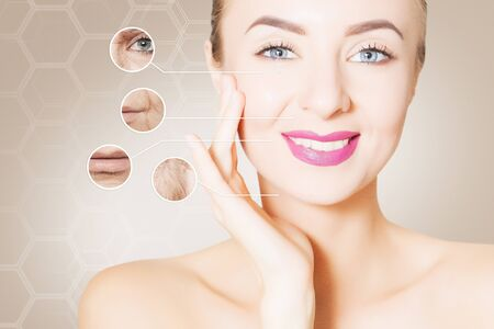 regeneration: portrait of woman face with graphic circles of ols skin for advertising