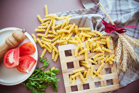 raw traditional italian pasta fusilli Stock Photo