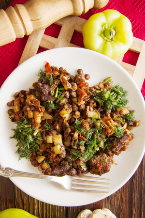 fried ragout with sliced beef,potato and vegetables Stock Photo