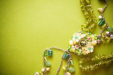 green beadwork necklace photo with empty copy space Stock Photo