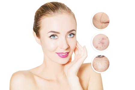 問題を高齢化: 老いも若き肌を持つ女性