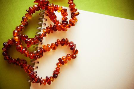 photo with white postcard amond retro amber beads, fans, etc