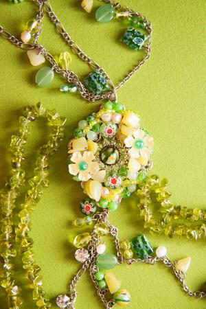 tsavorite: green beadwork necklace photo with empty copy space Stock Photo