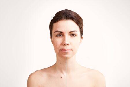two halves  portrait of european woman   face