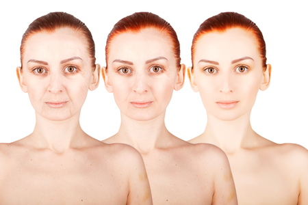 three ages of ginger haired woman Stock Photo