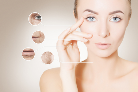 aging problems: woman with old and young skin Stock Photo