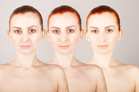 three generations of women: three ages of ginger haired woman Stock Photo
