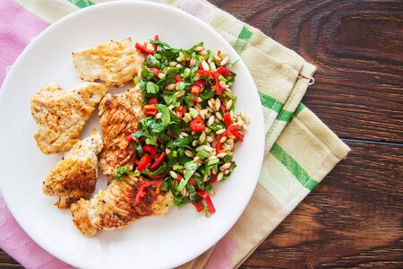 chicken chops and green salad