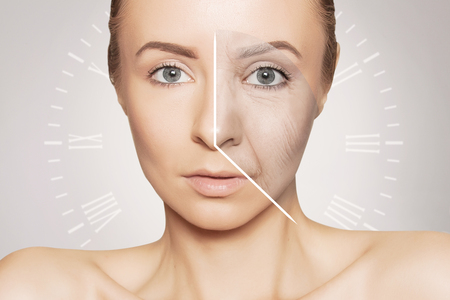 woman portrait with clock face- aging problems