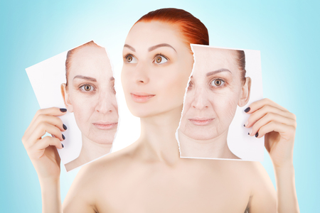 regeneration: skin lifting, red haired woman portrait