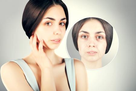 regeneration: brunette woman portrait with old skin