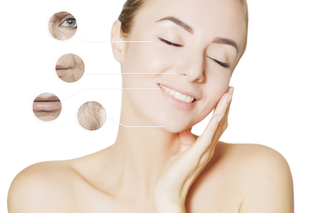 aging problems: woman with old and young skin Фото со стока