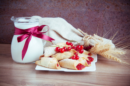 sweet rolled cookies with fresh red currant