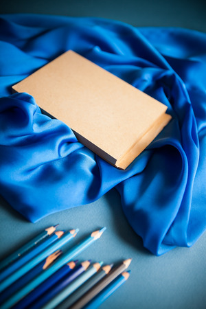 poetry&creativity concept background on blue background Stock Photo