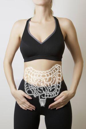 wizualizacja jelit na ciele kobiety