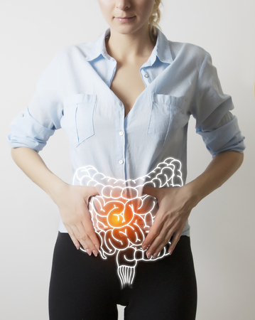intestines visualisation on woman body Stock Photo