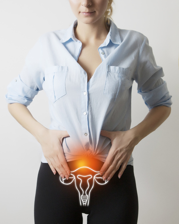 visualisation of genito-urinary system on woman body 版權商用圖片 - 98309869
