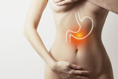 woman with graphic visualisation of inner organs of stomach Stock Photo
