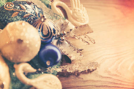 vintage background with Christmas toys of blue and silver color