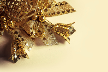 vintage background for Christmas card with golden toys and glass icicles 版權商用圖片