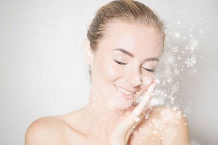 Lifting skin effect and plastic surgery concept, woman face portrait 版權商用圖片 - 136404229