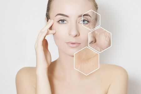 woman beauty face portrait with visualisation of old skin 版權商用圖片 - 136404231