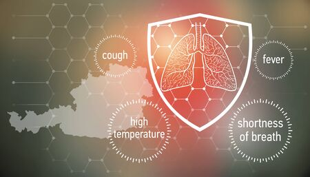 All the forces against dangerous symptoms. Design banner for coronavirus news with empty copy space and defense shield 版權商用圖片 - 143136976