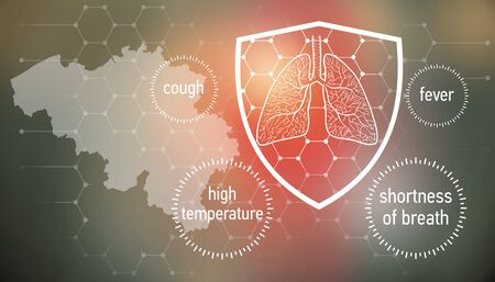 All the forces against dangerous symptoms. Design banner for coronavirus news with empty copy space and defense shield 版權商用圖片 - 143137004