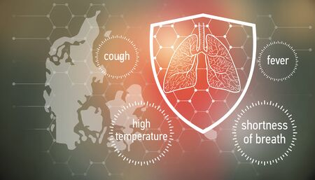 All the forces against dangerous symptoms. Design banner for coronavirus news with empty copy space and defense shield 版權商用圖片 - 143136978