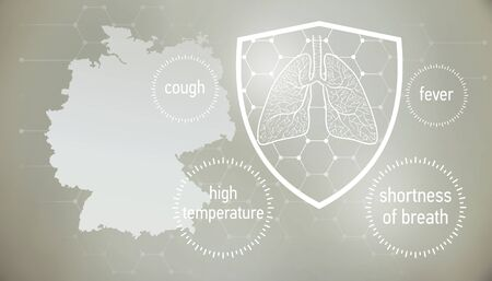 Coronavirus CoVid-19 in  . doctors and people fights with disease.  News banner about coronavirus in grey color and symptom graphics. 版權商用圖片 - 143136981