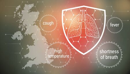 All the forces against dangerous symptoms. Design banner for coronavirus news with empty copy space and defense shield 版權商用圖片 - 143137006