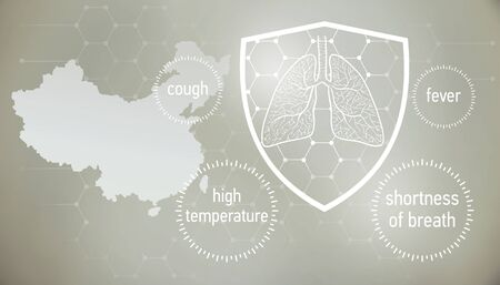 Coronavirus CoVid-19 in  . doctors and people fights with disease.  News banner about coronavirus in grey color and symptom graphics.