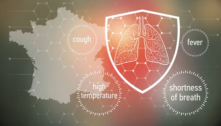 All the forces against dangerous symptoms. Design banner for coronavirus news with empty copy space and defense shield 版權商用圖片 - 143137007