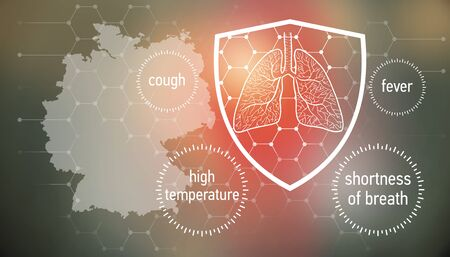 All the forces against dangerous symptoms. Design banner for coronavirus news with empty copy space and defense shield 版權商用圖片 - 143136987