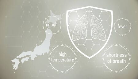 Coronavirus CoVid-19 in  . doctors and people fights with disease.  News banner about coronavirus in grey color and symptom graphics. 版權商用圖片 - 143136990