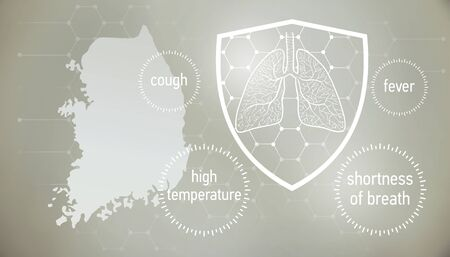 doctors and people fights with disease.  News banner about coronavirus in grey color and symptom graphics.