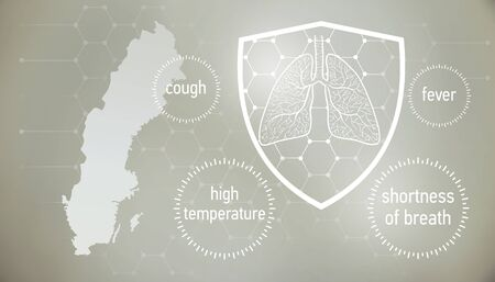 doctors and people fights with disease. News banner about coronavirus in gray color and symptom graphics. 版權商用圖片