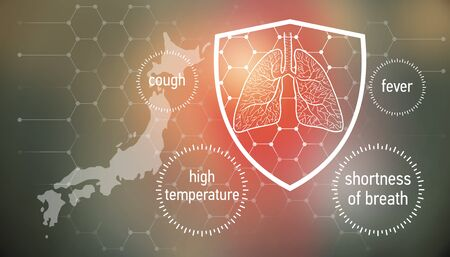 All the forces against dangerous symptoms. Design banner for coronavirus news with empty copy space and defense shield 版權商用圖片 - 143137017